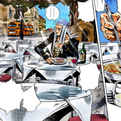 Abbacchio finds himself eating at a restaurant
