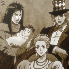 Photo of Straizo with Speedwagon and Erina as he holds a baby Lisa Lisa