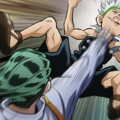 Rohan punches Ken for constantly bothering him.