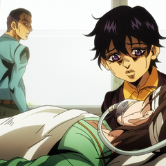Narancia with his father in a hospital, visiting his sick mother