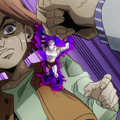 Killer Queen stops Kira punching Hayato.