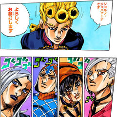 Fugo and the others are introduced to Giorno Giovanna