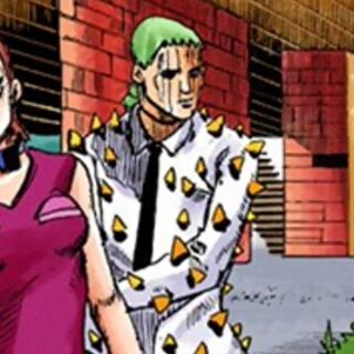 Jobin's first appearance, observing Josuke from afar.