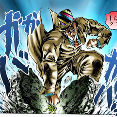 Zeppeli punching a frog