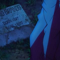 Dario's grave in the anime