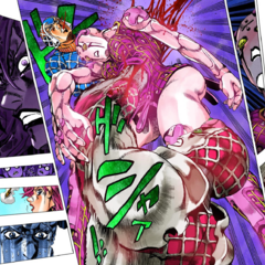 Watching as Trish, in Mista's body, is murdered by Diavolo