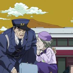 Helping an elderly lady.
