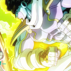 Star Platinum throwing a punch in the third opening, <i><a href=