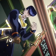 Josuke restores a bottle around Surface's hand.