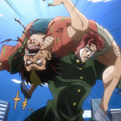 Rubber Soul (with Kakyoin's appearance) attempts to kill a pickpocket