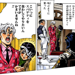 Narancia is taken to a restaurant by <a href=