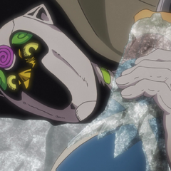Freezing Mista's arm, after infiltrating the car
