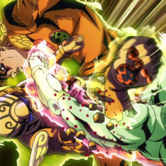 Giorno's arm is cut off by Baby Face