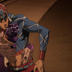 Mista's Hand Being Steadied By Giorno To Shoot