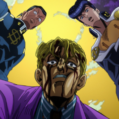 Kira confronted about his suspicious condition by Josuke and <a href=