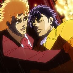Jonathan unconscious and held by Speedwagon after seemingly defeating Dio