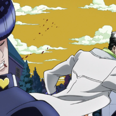 Jotaro punches Josuke in the face.
