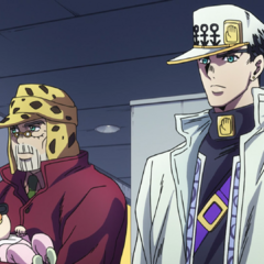 Jotaro and Joseph discuss the golden hearts of Morioh's inhabitants.