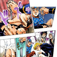 Narancia being saved by Giorno after having his tongue ripped out by <a href=