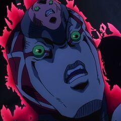 King Crimson's face close up