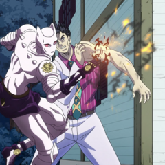Killer Queen blows a small hole in Kira's arm, allowing the air bubble to escape.
