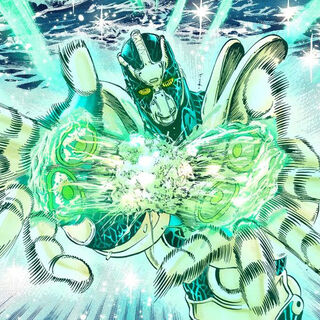 Hierophant Green using Emerald Splash