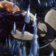 Kars' initial defeat by Joseph, impaled on a patch of crystals