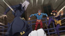 Abbacchio Mista and Narancia beating up a civilian