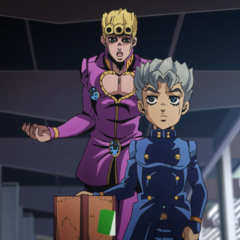 Giorno convincing Koichi to use his taxi, later scamming him