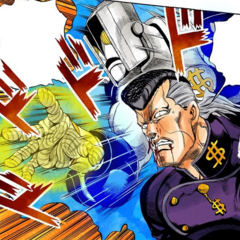 Attacking Josuke, about to reveal The Hand's power