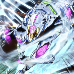 Fully formed, Ghiaccio chases the duo using his Stand