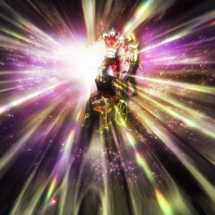 King Crimson and Diavolo engulfed in a bright light from Silver Chariot's <a href=