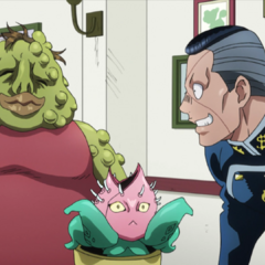 Okuyasu eating with his father and <a href=