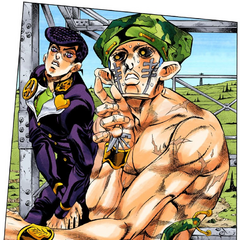 Noticing Josuke approach him.