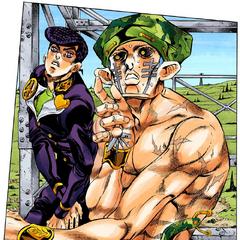 Noticing Josuke approach him.