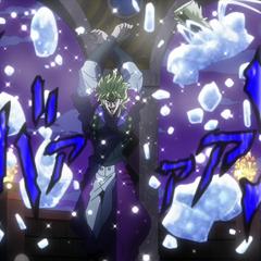 Dio destroys Dire's frozen body