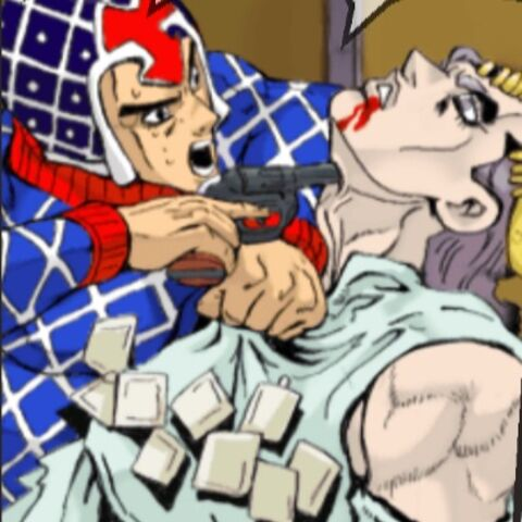 Scolippi getting interrogated by Guido Mista