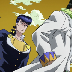 Josuke being controlled in an attempt to kill Jotaro.