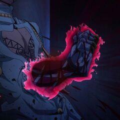 King Crimson's arm effortlessly pierces Bucciarati's body