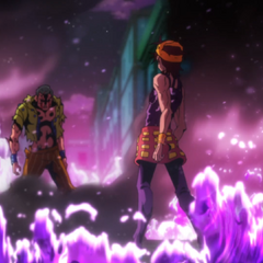 Narancia and Formaggio surrounded by flames