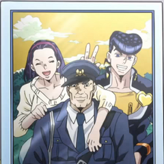 Another photograph of the Higashikata family with a noticeably happier Josuke