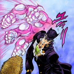 Using his Stand to beat up a bully