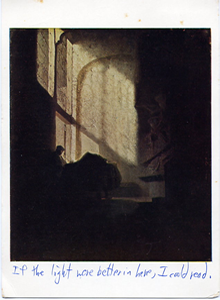 A Man seated reading at a Table in a Lofty Room (1967 postcard)
