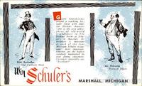 Schuler's Restaurant Dickens postcard - swiveller-pickwick