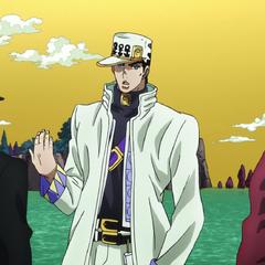 Джозеф держит Шизуку, пока Джотаро разговаривает с членом Фонда Спидвагона
