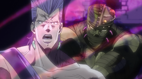 Hanged Man attacks Polnareff