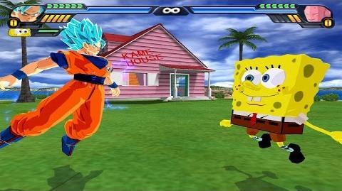 Goku and Spongebob Fusion - Spongeku Square-Saiyan vs Skinny Buu - DBZ Tenkaichi 3 (MOD)