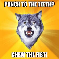 Courage Wolf Chew The Fist