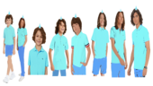7 Men with Long Brown Hair and Brown Eyes and 1 Men with Long Brown Hair with a Hair Clip and Brown Hair with Cyan Santa Hats and in Cyan Short Sleeve Polo T-Shirts and Blue Pants (1)