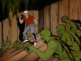 Race is cornered by lizard men